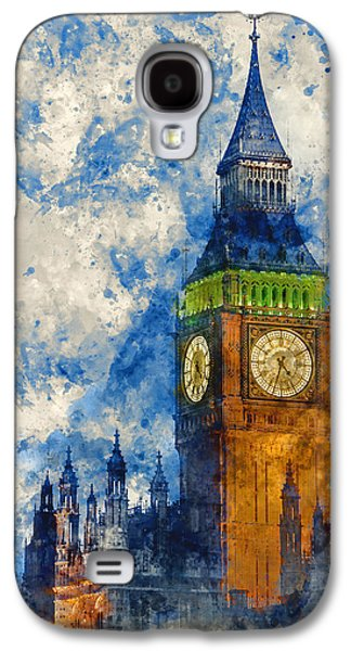 Watercolor Painting Of Big Ben At Twilight Witth Lights Making A Galaxy S4 Case by Matthew Gibson
