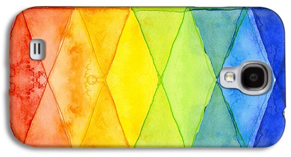 Watercolor Rainbow Pattern Geometric Shapes Triangles Galaxy S4 Case by Olga Shvartsur