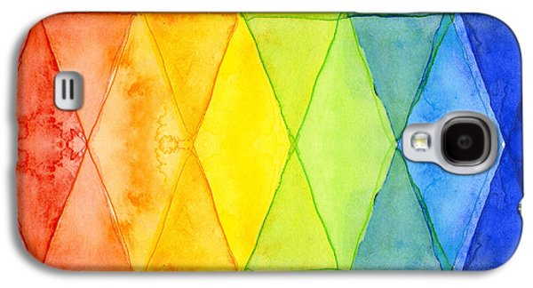 Watercolor Rainbow Pattern Geometric Shapes Triangles Galaxy S4 Case
