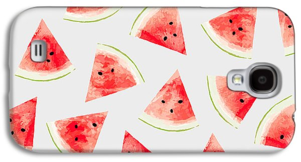 Watercolor Watermelon Pattern Galaxy S4 Case by Uma Gokhale