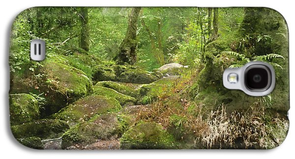 Watercolour Painting Of Becky Falls Waterfall Landscape In Dartmoor National Park England Galaxy S4 Case
