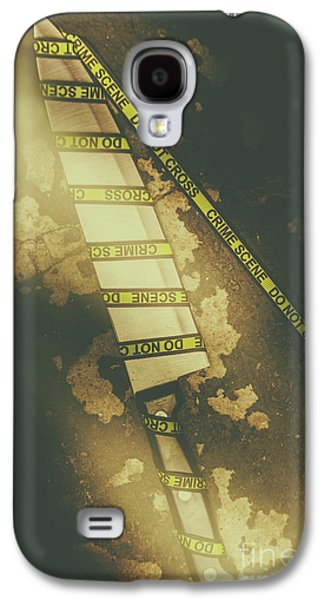 Weapon Wrapped In Yellow Crime Scene Ribbon Galaxy S4 Case by Jorgo Photography - Wall Art Gallery