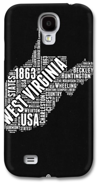 West Virginia Word Cloud Black And White Map Galaxy S4 Case