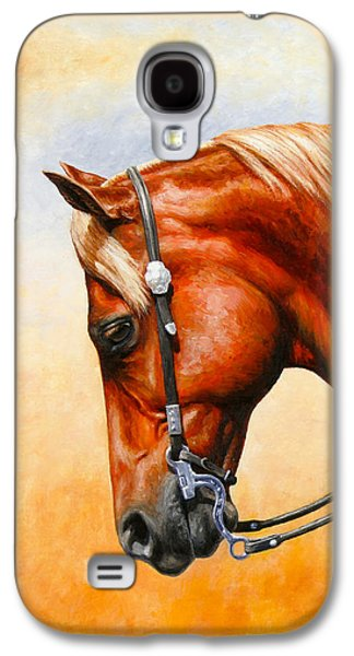 Chestnut Horse Galaxy S4 Cases - Western Pleasure Horse Phone Case Galaxy S4 Case by Crista Forest