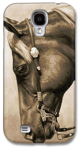 Chestnut Horse Galaxy S4 Cases - Western Pleasure Horse Phone Case in Sepia Galaxy S4 Case by Crista Forest