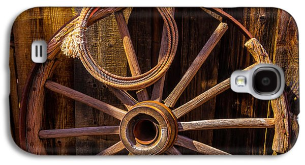 Western Rope And Wooden Wheel Galaxy S4 Case by Garry Gay