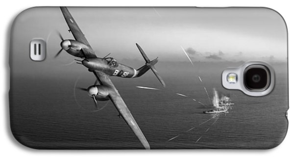 Galaxy S4 Case featuring the photograph Westland Whirlwind Attacking E-boats Black And White Version by Gary Eason