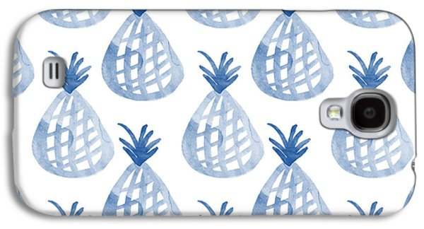 White And Blue Pineapple Party Galaxy S4 Case by Linda Woods