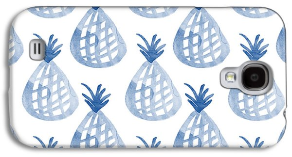 White And Blue Pineapple Party Galaxy S4 Case