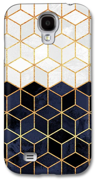 White And Navy Cubes Galaxy S4 Case by Elisabeth Fredriksson