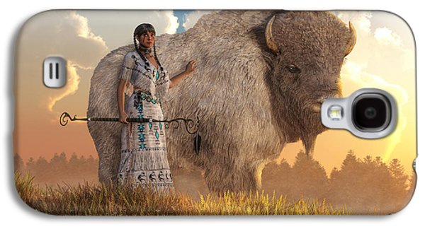 White Buffalo Calf Woman Galaxy S4 Case by Daniel Eskridge