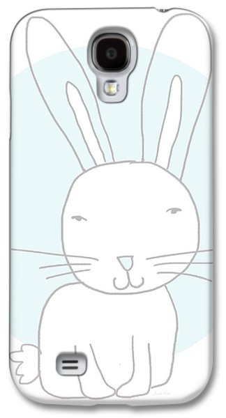 White Bunny On Blue- Art By Linda Woods Galaxy S4 Case