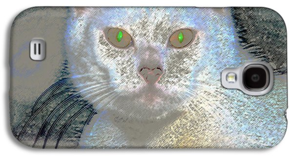 White Cat Green Eyes Galaxy S4 Case by David Lee Thompson
