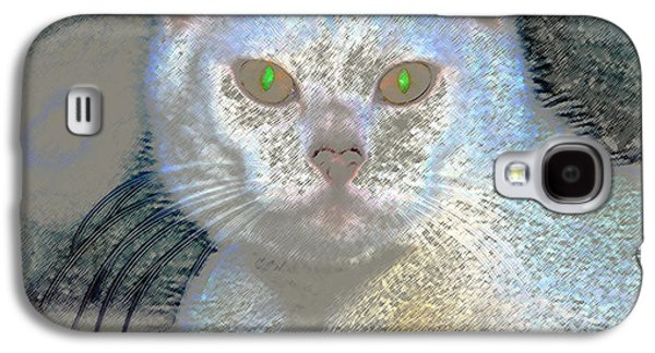 White Cat Green Eyes Galaxy S4 Case