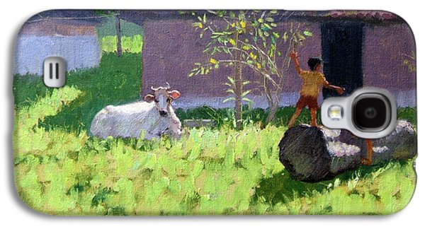 White Cow And Two Children Galaxy S4 Case by Andrew Macara