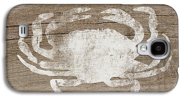 White Crab On Wood- Art By Linda Woods Galaxy S4 Case by Linda Woods