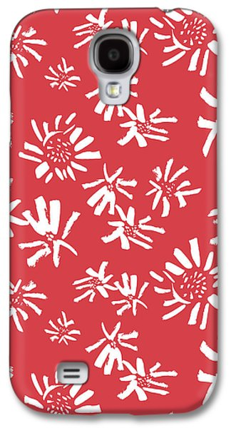 White Flowers On The Red Galaxy S4 Case