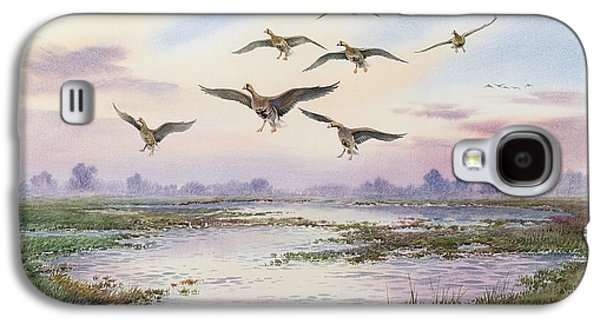 White-fronted Geese Alighting Galaxy S4 Case by Carl Donner