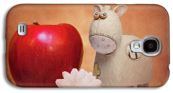 Daisy Galaxy S4 Case - White Horse With Apple by Tom Mc Nemar