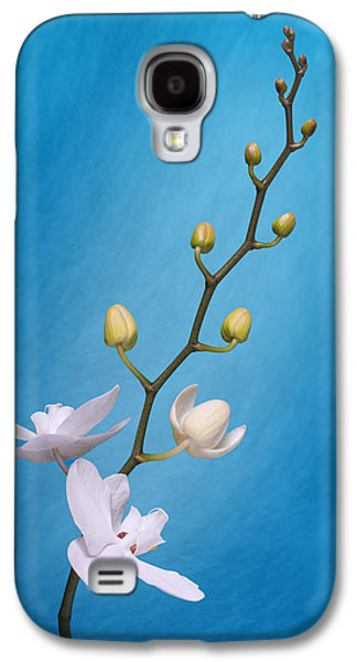 Orchid Galaxy S4 Case - White Orchid Buds On Blue by Tom Mc Nemar