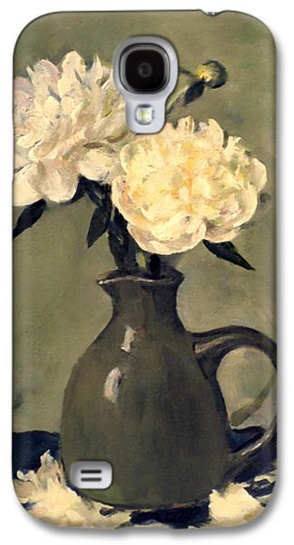 White Peonies In Small Green Pitcher Galaxy S4 Case