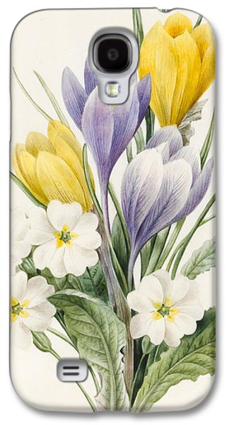 White Primroses And Early Hybrid Crocuses Galaxy S4 Case by Louise D'Orleans