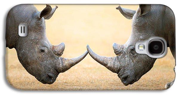 White Rhinoceros  Head To Head Galaxy S4 Case by Johan Swanepoel
