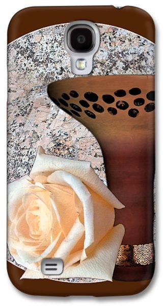 White Rose Brown Floral Motif Tile By Delynn Addams Galaxy S4 Case