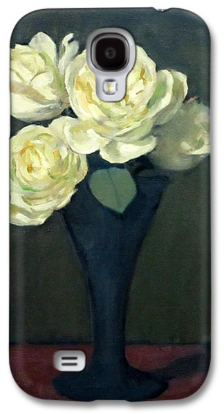 Four White Roses In Trumpet Vase Galaxy S4 Case