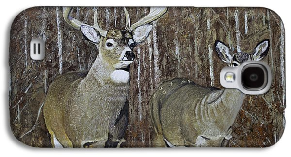 White Tail Couple 24x 24x3/4 Inch Oil On Canvas Galaxy S4 Case