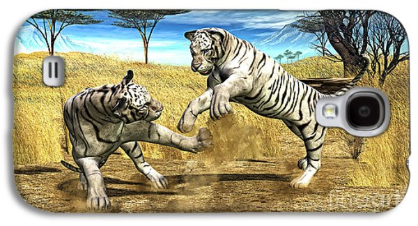 White Tiger Fight Galaxy S4 Case by Methune Hively