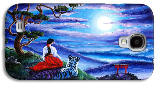 White Tiger Meditation Galaxy S4 Case by Laura Iverson