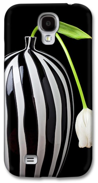 White Tulip In Striped Vase Galaxy S4 Case by Garry Gay