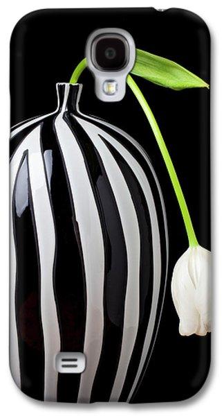 Tulip Galaxy S4 Case - White Tulip In Striped Vase by Garry Gay