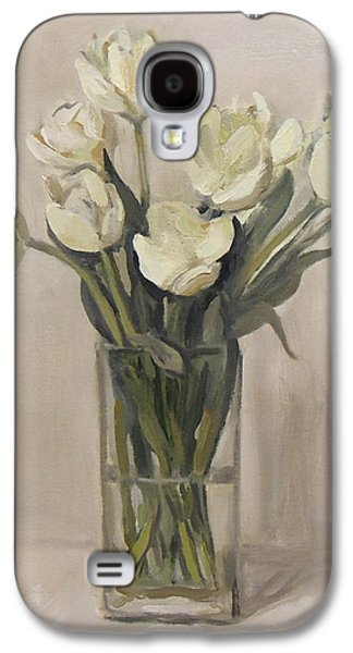 White Tulips In Rectangular Glass Vase Galaxy S4 Case