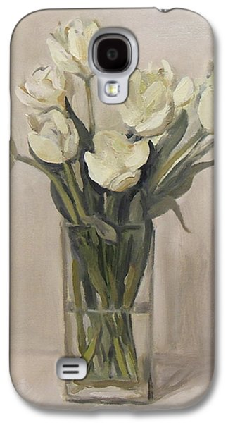 White Tulips In Rectangular Glass Vase Galaxy S4 Case