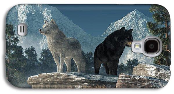 White Wolf, Black Wolf Galaxy S4 Case by Daniel Eskridge