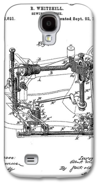 Whitehill Sewing Machine Patent 1885  Galaxy S4 Case by Bill Cannon