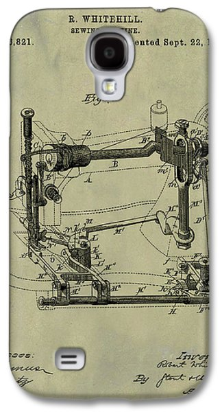 Whitehill Sewing Machine Patent 1885 Weathered Galaxy S4 Case by Bill Cannon