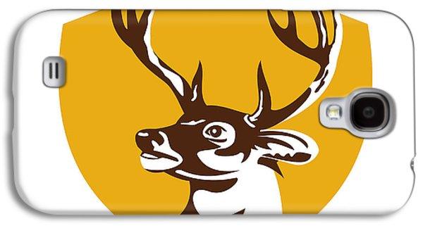 Whitetail Deer Buck Head Crest Retro Galaxy S4 Case by Aloysius Patrimonio