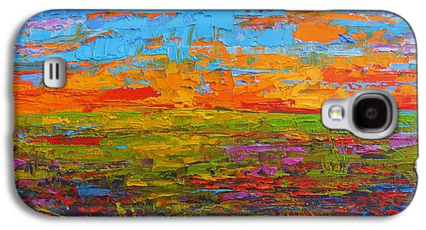 Wildflower Field At Sunset - Modern Impressionist Oil Palette Knife Painting Galaxy S4 Case