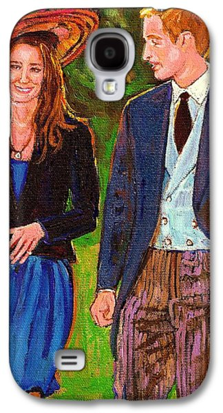 Kate Middleton Paintings Galaxy S4 Cases - Wills And Kate The Royal Couple Galaxy S4 Case by Carole Spandau
