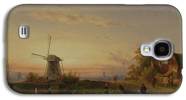 Windmill At Sunset Galaxy S4 Case