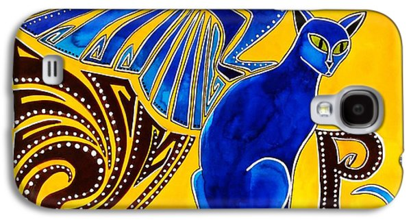 Galaxy S4 Case featuring the painting Winged Feline - Cat Art With Letter P By Dora Hathazi Mendes by Dora Hathazi Mendes