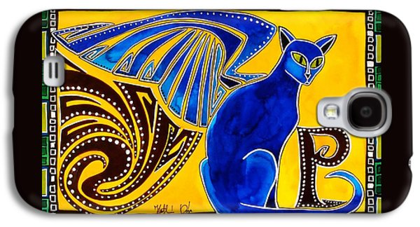 Winged Feline - Cat Art With Letter P By Dora Hathazi Mendes Galaxy S4 Case by Dora Hathazi Mendes