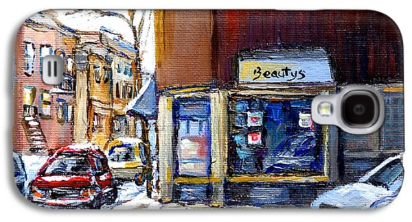 Winter At Beauty's Restaurant City Scene Landmark Paintings Montreal Memories Exceptional Canada Art Galaxy S4 Case by Carole Spandau