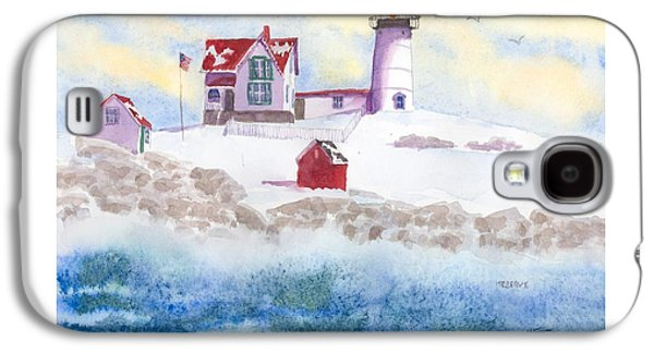 Winter At Nubble Lighthouse  Galaxy S4 Case by Roseann Meserve