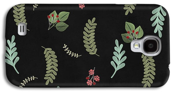 Winter Botanical Leaves, Berries, Nature Galaxy S4 Case by Tina Lavoie