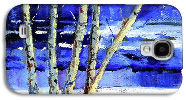 Galaxy S4 Case featuring the painting Winter By The River by Nancy Merkle