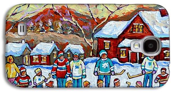 Winter Playground Painting By Canadian Hockey Art Specialist Carole Spandau Skating Sledding Snowman Galaxy S4 Case by Carole Spandau
